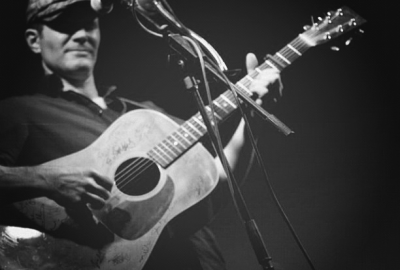 Mike with Guitar Black and White